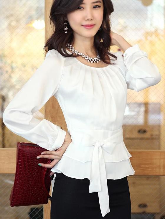 Осень Новый тонкий Рубашки Женщины шифон Puff белую рубашку носить шелковые