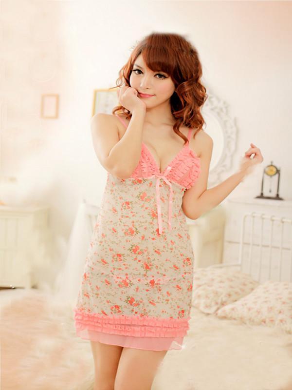 Сексуальная мода новый дизайн кружева женщин розовый ночное белье пижамы платья babydoll свободный размер T8969