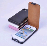 Wholesale Iphone 4s Fold Cover - New PU Leather Fold Flip Open Skin Case Cover Protector For iphone 4 4G 4S Brown Black White pink