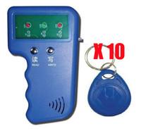 sistemas de lector de tarjetas rfid al por mayor-Lector RFID Escritor 125 KHz Tarjeta de identificación Duplicador de llavero Sistema de puerta duplicada / copia + 10 Llaves EM4305