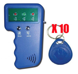 Wholesale Card Fob - RFID Reader Writer 125KHz ID Card Keyfob duplicator Duplicate Copy Door System + 10 EM4305 Key Fobs