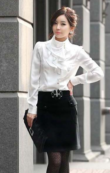 Autumn New OL Fashion Slim Shirts Flouncing Retro Collar Long Sleeve Women's Shirts