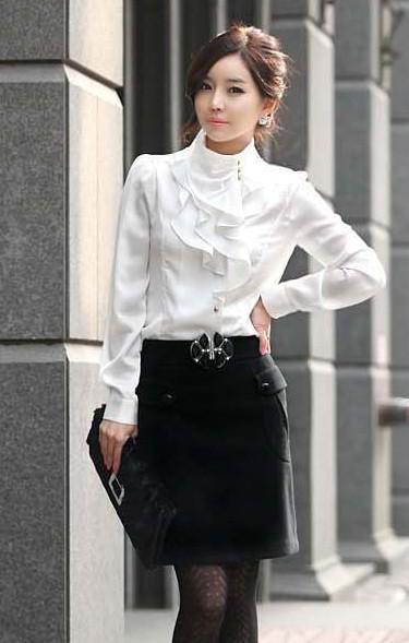 Осень Новый OL мода Slim Рубашки Рубашки Flouncing Ретро воротник с длинными рукава Женщины