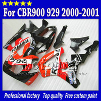 Wholesale Honda Cbr929rr Fairing Red Injection - 100% Injection fairings for HONDA CBR900RR 929 2000 2001 CBR900 929RR CBR929 00 01 CBR929RR glossy red black Repsol fairing set sy8