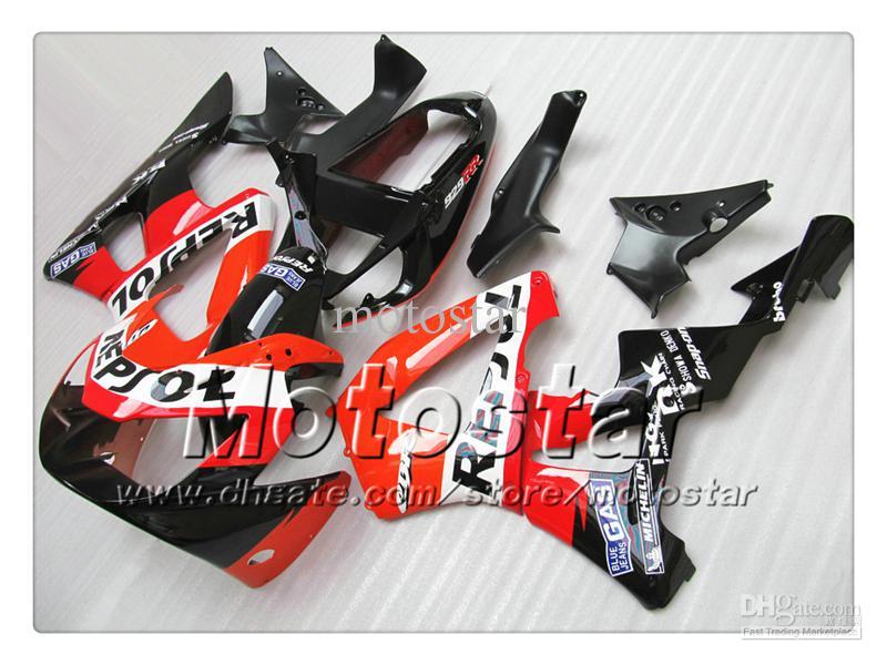 100% carénage d'injection pour HONDA CBR900RR 929 2000 2001 CBR900 929RR CBR929 00 01 CBR929RR Set de carénage Repsol noir rouge brillant sy8