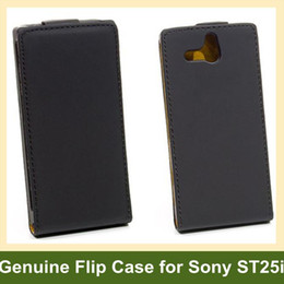 Wholesale Ericsson Xperia U - Wholesale Luxury Color Genuine Leather Flip Cover Case for Sony Xperia U ST25i with Magnetic Snap Free Shipping