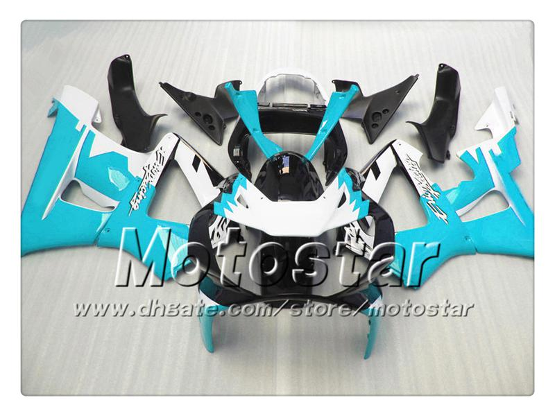 Weg Racing Motorfiets Vogelvakken voor Honda CBR900RR 929 2000 2001 CBR900 929RR CBR929 00 01 CBR929RR Glanzende Water Blauw Zwarte Farring Set