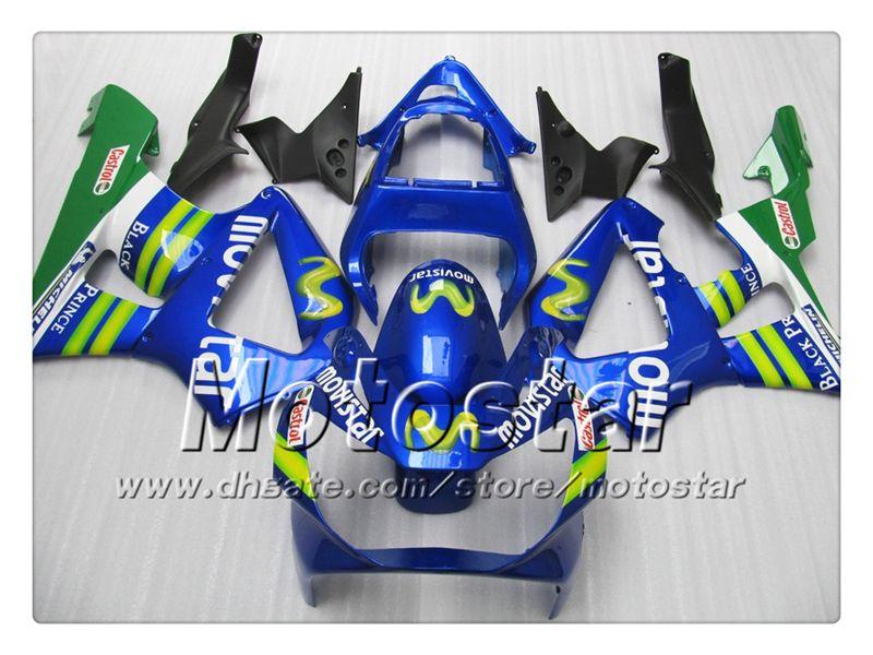 Cheap motorcycle fairings for HONDA CBR900RR 929 2000 2001 CBR900 929RR CBR929 00 01 CBR929RR glossy dark blue Movistar body fairing set