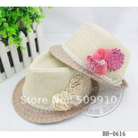Wholesale Trilby Paper Straw Hat - Double Flower Baby Girls Straw Constructe Fedora Hat Sun Hat TRILBY 2-5 years baby 10pcs lot Free Shipping