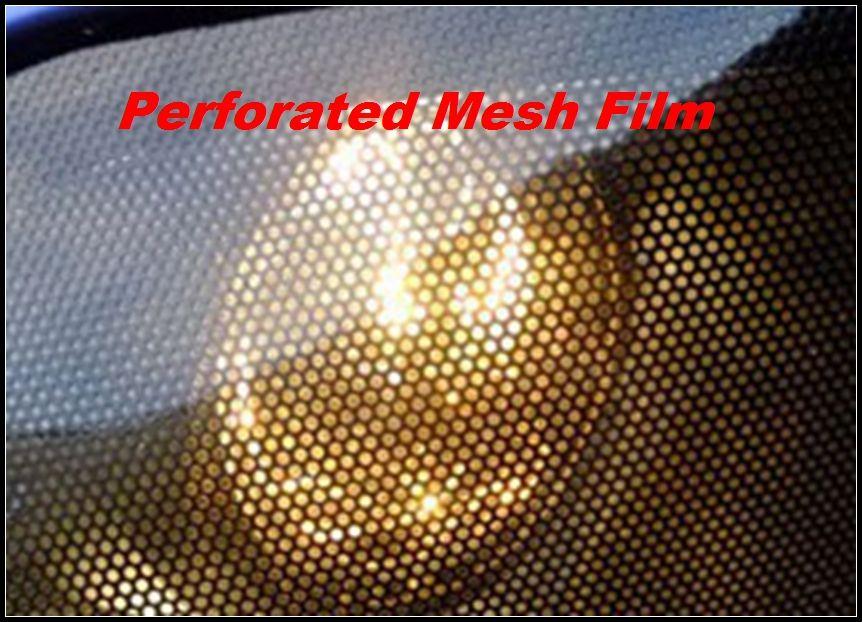 プレミアムフライアイ色合い穴のあいたメッシュフィルムヘッドライトの色合い道路の法的ビニールの窓の色合い映画MOのようなフライアイ1.07x50m /ロール送料無料