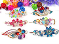 Wholesale Duck Clips - rhinestone Duck Clip Banana Clips Hair Barrette Hairpin clasps accessory 24pc lot mixed #2989