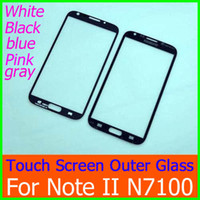 Wholesale Galaxy Ii Lcd Display - Outer Front LCD Digitizer Touch Screen Display Faceplate Glass Lens Cover for Galaxy Note II N7100 Black White