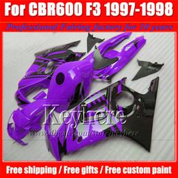 Kit di equitazione a buon mercato per motocicli online-Kit carena nero viola per Honda CBR600 97 98 CBR 600 1997 1998 F3 carene racing per motocicli con 7gifts Fk19