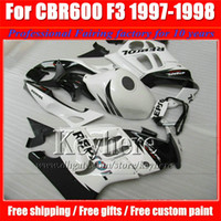 Wholesale Moto Fairings - 7 free gifts!white black REPSOL moto fairings kit for CBR600 1997 1998 Honda CBR 600 97 98 F3 ABS racing fairing motobike parts Fk24