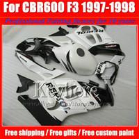 cbr f3 noir blanc achat en gros de-Kit de carénages de moto REPSOL blanc noir pour CBR600 1997 Honda CBR 600 97 98 F3 ABS blanc 7 cadeaux gratuits!