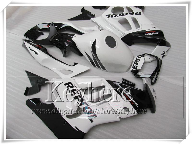 Kit de carénages de moto REPSOL blanc noir pour CBR600 1997 Honda CBR 600 97 98 F3 ABS blanc 7 cadeaux gratuits!