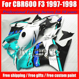 Wholesale Low Priced Cbr Fairings - ABS low price blue white black fairing kit for Honda CBR600 97 98 CBR 600 1997 1998 F3 fairings custom motorcycle parts with 7 gifts Fk46