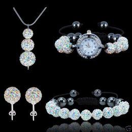 Wholesale Disco Balls Necklace Pendants - Xmas disco ball shamballa set 925 silver necklace pendants Bracelet Earrings Watch Bracelets crystal jewelry sets Beat Gift