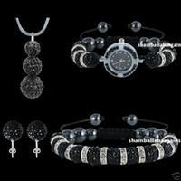 Wholesale Disco Beads Watch - 4pcs set New Shamballa Jewelry Set 925 Silver Snake Chain&CZ Disco Crystal Ball Beads Bracelets Pendant Necklace&Stud Earring&Watch Bracelet