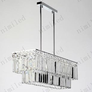 nimi40 L65cm * W19cm * H62cm Rectangular K9 Crystal Chandelier Modern Lamp Lighting Restaurante Comedor Bar Mesa Sala de estar Metal plateado cromo