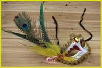 Wholesale sexy peacock masks for sale - Group buy 2017 New Women Sexy Hallowmas Venetian Mask Masquerade Pheasant Peacock Feather Masks Half Face mask Ball Party exquisite