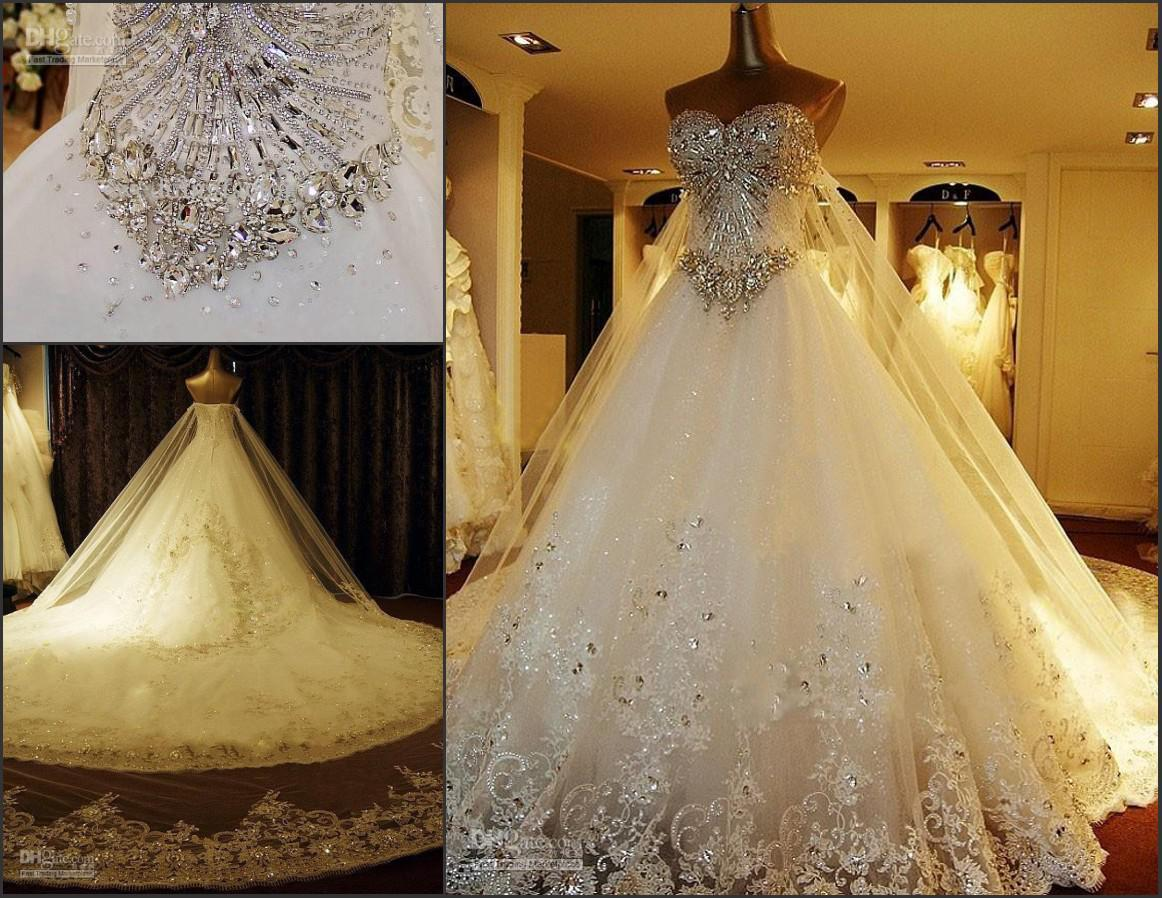Wedding Gowns With Bling: Discount Bling Luxury A Line Wedding Dress Bridal Gown
