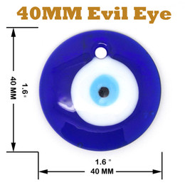 Wholesale Evil Eye Diy - Lot of 20- 4CM Round Blue Glass Turkish Evil Eye Home Decoration Wall Hanging Plain DIY Accessories.Free Shipping~
