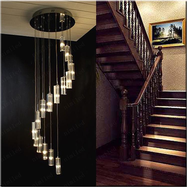 nimi41 현대 미니멀 패션 투명 K9 크리스탈 블록 S 모양의 이중 계단 펜던트 샹들리에 조명 램프 호텔