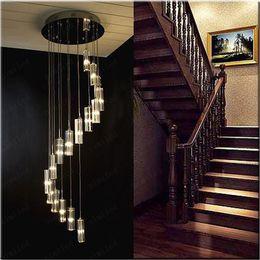 nimi41 Moda Moderna Minimalista Transparente K9 Cristal Bloco Em Forma de S Duplex Escada Luminária Lustre Lâmpadas de Iluminação Luz Para O Hotel de