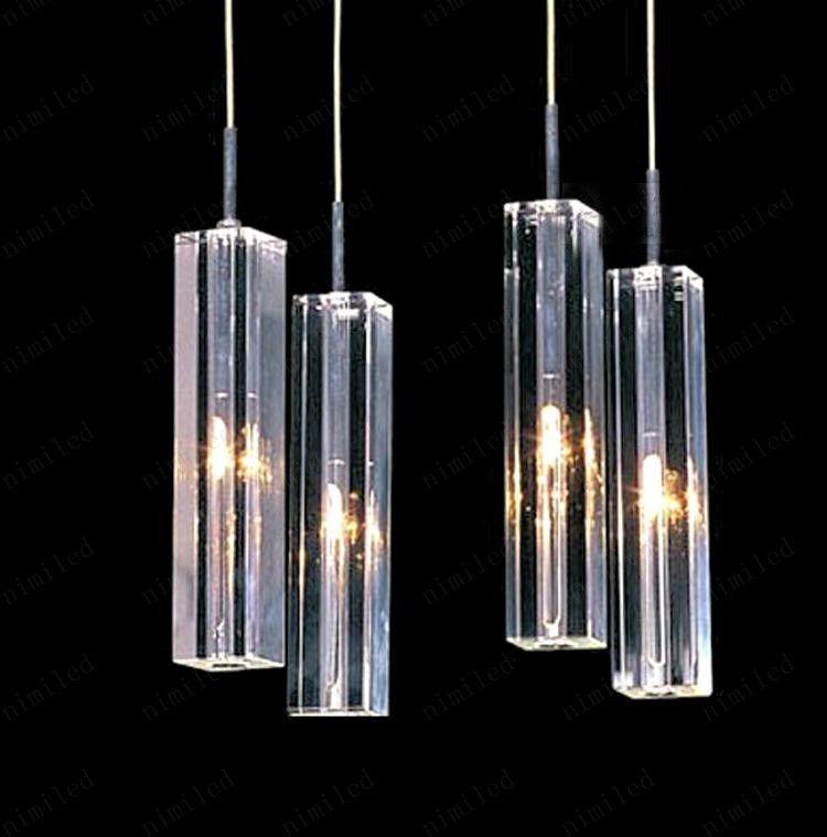 nimi41 Moda minimalista moderna Transparente K9 Bloque de cristal Escalera dúplex en forma de S Lámpara colgante Lámparas de iluminación Luz para el hotel