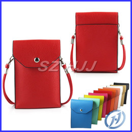 Wholesale Designer Leather Iphone Cases - Designer Stylish Universal Wallet Case Litchi Leather Case Cover with Credit Card Slot Neck Strap For Smart Phone iphone Samsung HTC
