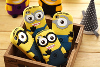Wholesale Minions Iphone4 Case - 10PCS lot Cute 3D Cartoon Soft Silicone Despicable ME2 Minions yellow boy Cove Case For Apple Iphone4 4G 4S Free Shipping