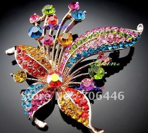 Mooie verzilverde muticolor prachtige strass Crystal Butterfly Broche Pin