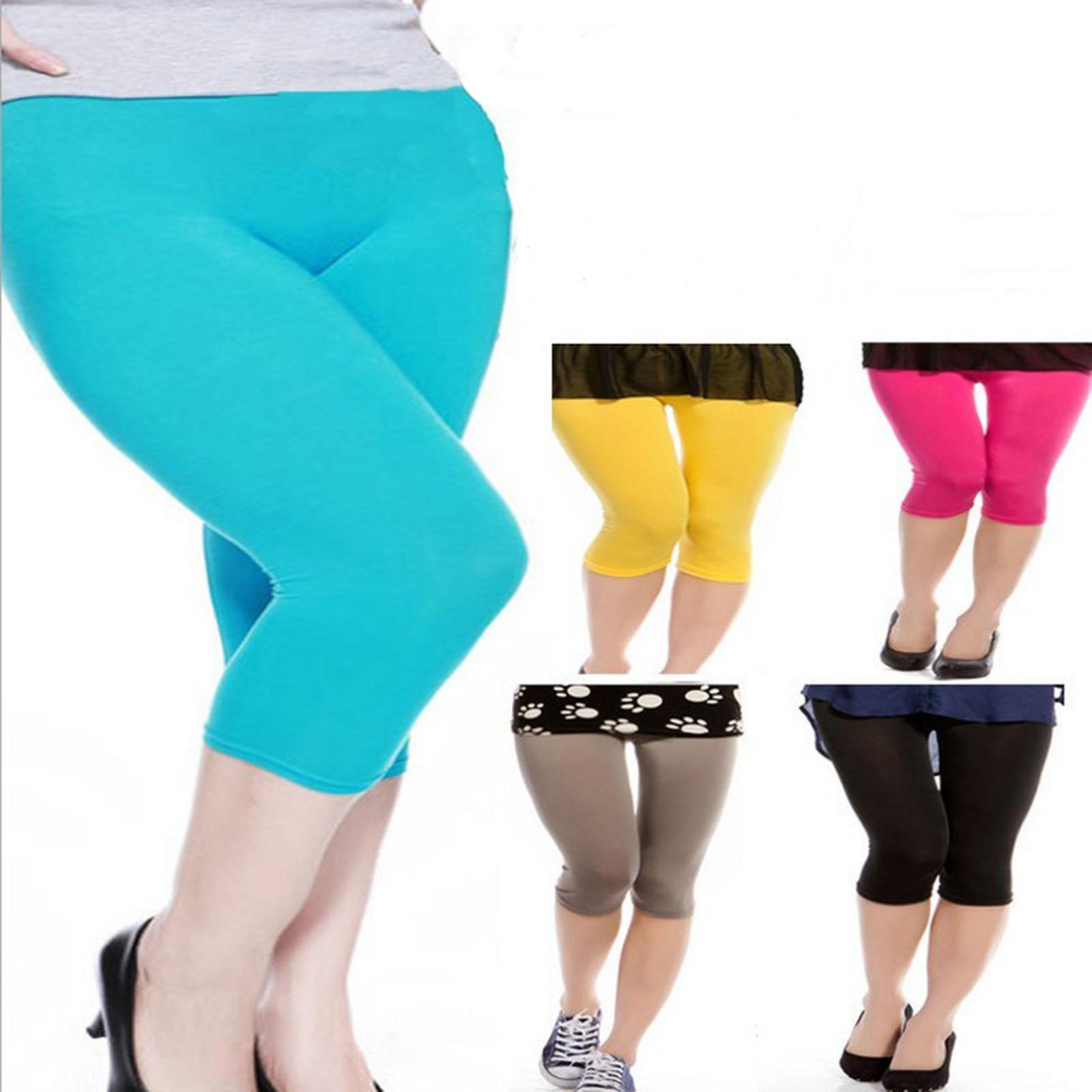 2017 Basic Elastic Plus Size Capri 3/4 Leggings Cropped Tights ...