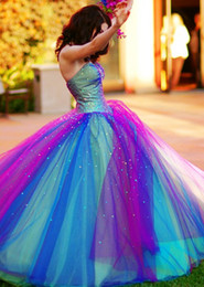 Wholesale blue cheap quinceanera dresses - 2017 Custom Made New Rainbow Tulle Colorful Quinceanera Dresses Sweetheart Beaded Ball Gown Cheap Party Dresses