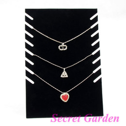 Wholesale Jewelry Holders For Necklaces - Wholesale 4 Black Velvet Necklace Display Stand Holder Board For 8 Pcs