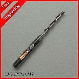 Wholesale Cnc Spiral Router Bit - 3.175*2.0*17mm Engraving CNC Double Two Flute Spiral bit router bits