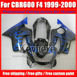 Popular Blue Flame In Black Racing Motorcycle Parts For CBR600 F4 99 00 Honda CBR 600 1999 2000 Bodywork Fairings Set With 7 Gifts VT35