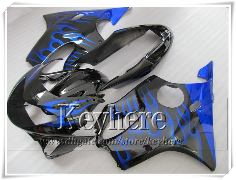 Llama azul popular en piezas de la motocicleta de carreras negras para CBR600 F4 99 00 Honda CBR 600 1999 2000 carenados de la carrocería engastadas con 7 regalos VT35