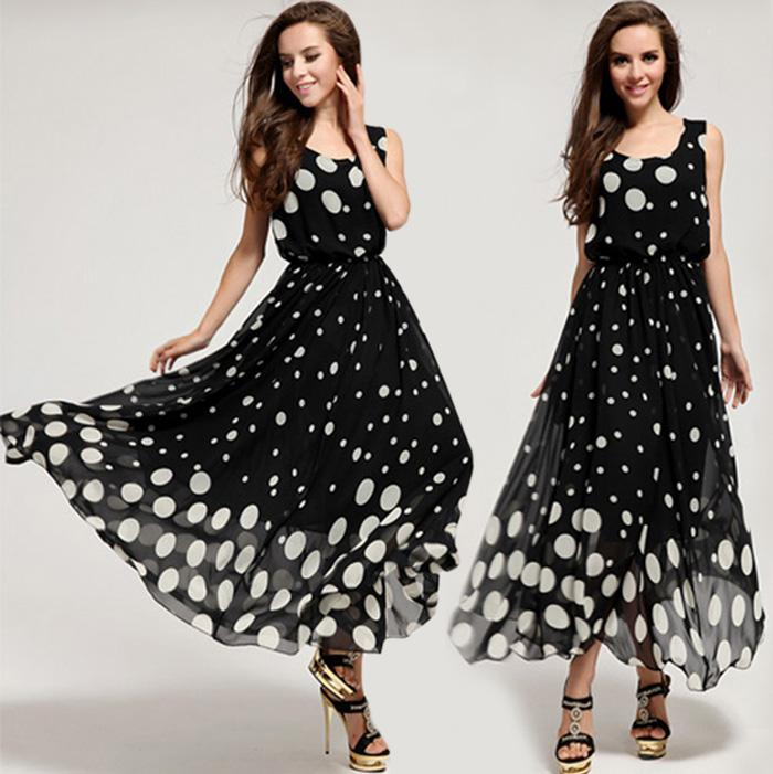 Elegant New Fashion Women Sleeveless Polka Dot Maxi Dresses Plus ...