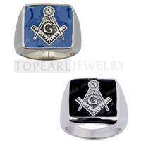 Wholesale Wholesale Masonic Rings - Teboer Jewelry 2pcs LOT Masonic Stainless Steel Rings Blue   Black R052122