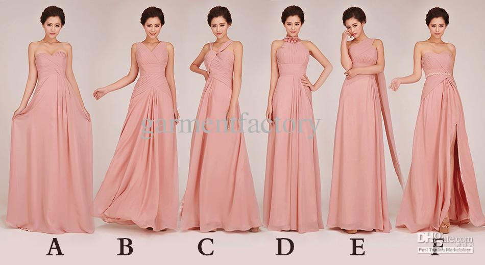 Stunning Mix Bridesmaid Dresses In Six Different Sytles Dusky Pink ...