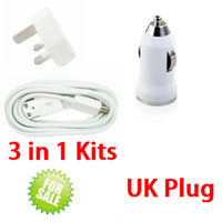 Wholesale Galaxy Note Power Plug - V8 Micro USB Charging Data Sync Wire Cord Vehicle Car Wall Home Charger UK Plug Power Adapter for Samsung Galaxy S3 S4 Note 2 HTC 3 in 1 Kit