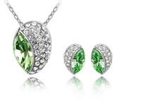 brinco broto venda por atacado-2013 nova 100% de alta qualidade frete grátis moda marca bud colar de pingente e brincos conjunto de jóias de cristal, feito na áustria cristal