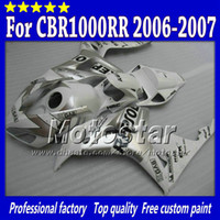 Wholesale Cbr Repsol Body Kit - 7 Gifts injection molding for HONDA cbr1000rr 06 07 abs fairings kit CBR 1000RR fairing 2006 2007 glossy white silver Repsol body set sy103