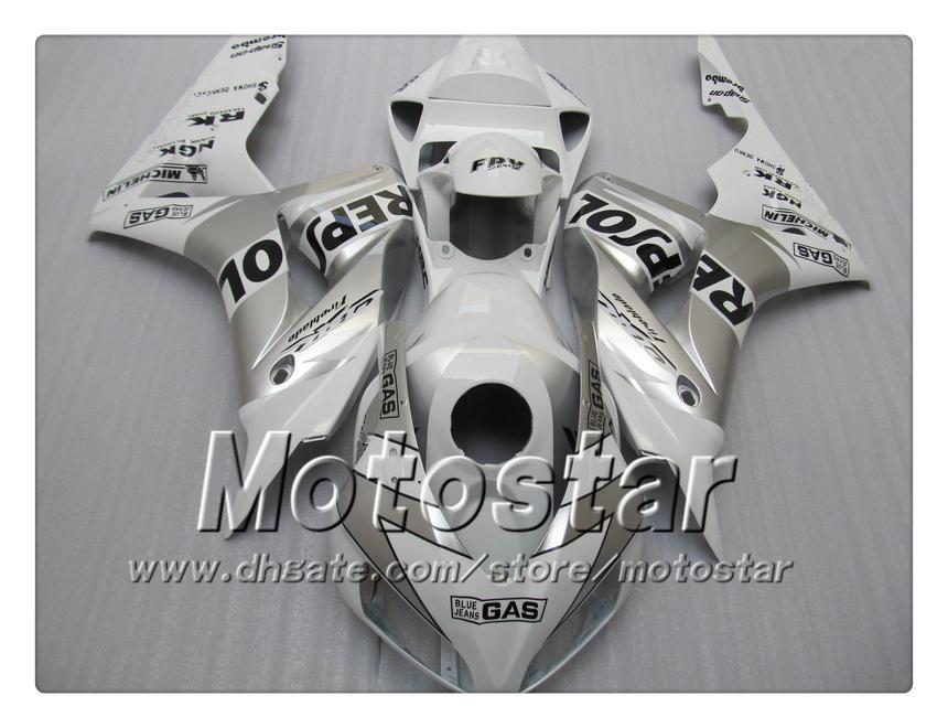 7 Gifts injection molding for HONDA cbr1000rr 06 07 abs fairings kit CBR 1000RR fairing 2006 2007 glossy white silver Repsol bodywork sy103