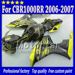 $enCountryForm.capitalKeyWord Canada - 7Gifts injection molding for HONDA cbr1000rr 06 07 abs fairings kit CBR 1000RR fairing 2006 2007 yellow in glossy black body set sy107