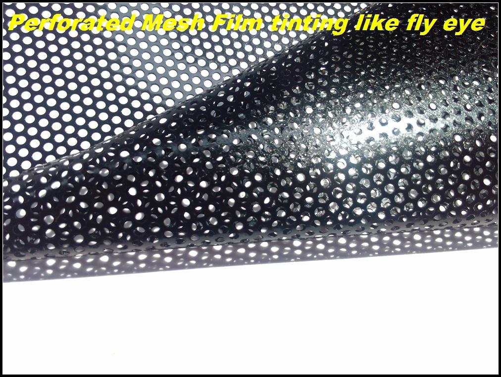 Film de fenêtre perforé de qualité supérieure, phares de film maillé noir teintant enveloppant Fly Eye vinyle auto-adhésif 1.07x50 mètres livraison gratuite