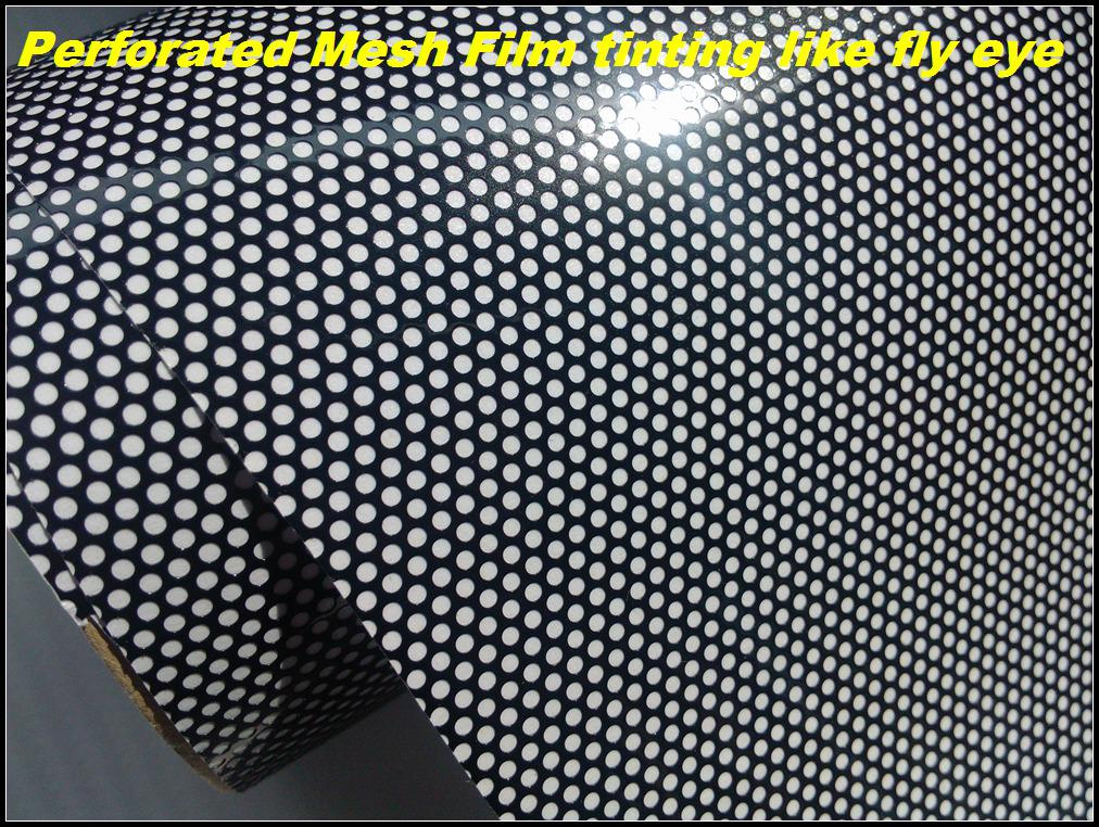LUZ DE RINCÓN PERFORADA PELÍCULA DE MALLA COMO EL TIPO LEGAL MOT DE OJO DE VUELO Ambos lados negro Tamaño 1.07x50 metros Envío gratis a Reino Unido