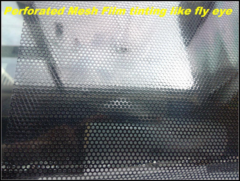 Toda la venta película de la ventana perforada faros que teñen el tinte del abrigo de la ventana del coche Fly Eye vinilo autoadhesivo 1.07x50meters liberan el envío
